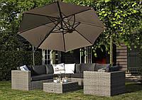 Садовый зонт с подсветкой Solarflex T2 Ø3,5 м  + подставка коричневый