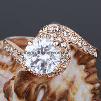 Яркое кольцо с кристаллами Swarovski, покрытое золотом (102440)