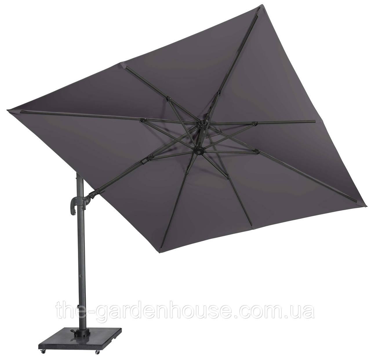 Садовый зонт с подсветкой Solarflex T2 3х3 м + подставка антрацит