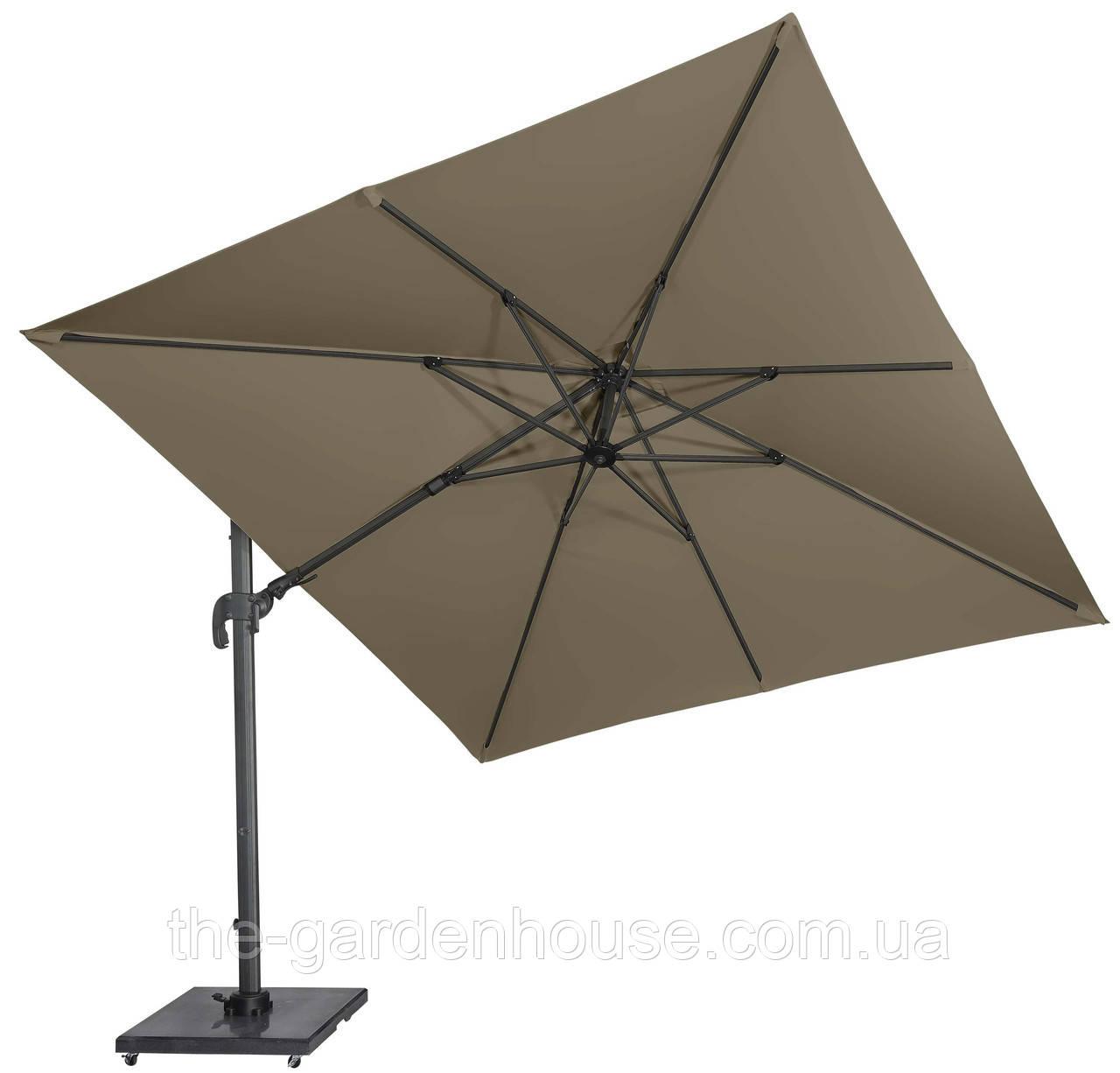 Садовый зонт с подсветкой Solarflex T2 3х3 м + подставка коричневый
