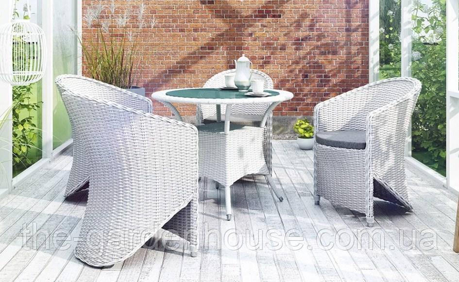 Обеденный комплект садовой мебели Filip & Dolce Vita Royal из искусственного ротанга белый