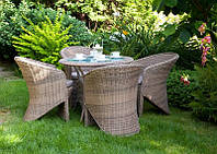 Обеденный комплект садовой мебели Filip & Dolce Vita Royal из искусственного ротанга бежевый, фото 1