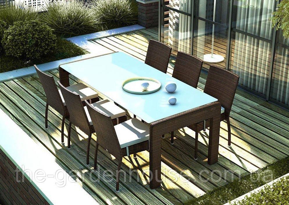 Обеденный комплект Prato & Mina из искусственного ротанга: стол 200 см и 6 стульев коричневый