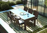 Обеденный комплект Prato & Mina из искусственного ротанга: стол 200 см и 6 стульев коричневый, фото 1
