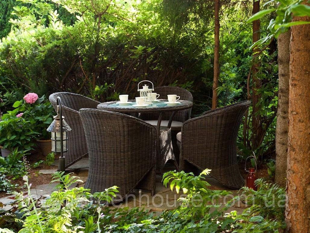 Обеденный комплект садовой мебели Filip & Dolce Vita Royal из искусственного ротанга коричневый