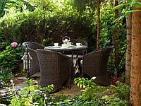 Обеденный комплект садовой мебели Filip & Dolce Vita Royal из искусственного ротанга коричневый, фото 1