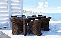 Обеденный набор садовой мебели Rapallo & Dolce Vita Royal из искусственного ротанга коричневый