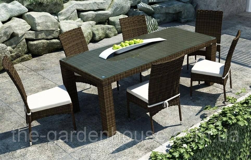 Обеденный комплект из искусственного ротанга: стол Rapallo 160 см и 6 стульев Strato Royal коричневый