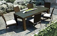 Обеденный комплект из искусственного ротанга: стол Rapallo 160 см и 6 стульев Strato Royal коричневый, фото 1