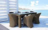 Обеденный набор садовой мебели Rapallo & Dolce Vita Royal из искусственного ротанга бежевый