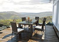 Обідній комплект з штучного ротанга: стіл Rapallo 160 см і 6 стільців Strato Royal бежевий, фото 1