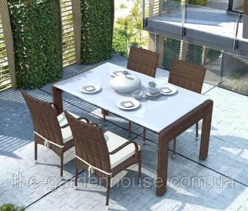 Обідній комплект Nero & Tramonto Royal з штучного ротанга: стіл 160 см і 4 стільця коричневий