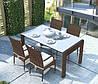 Обеденный комплект Prato & Tramonto Royal из искусственного ротанга: стол 160 см и 4 стула коричневый