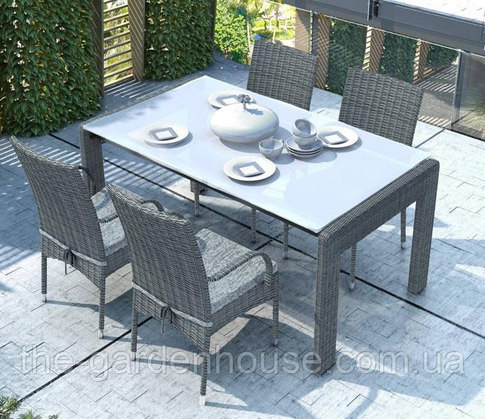 Обеденный комплект Prato & Tramonto Royal из искусственного ротанга: стол 160 см и 4 стула серый