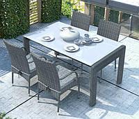 Обеденный комплект Prato & Tramonto Royal из искусственного ротанга: стол 160 см и 4 стула серый, фото 1