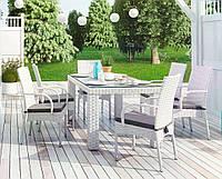Столовый комплект садовой мебели Рапалло & Трамонто из искусственного ротанга белый, фото 1