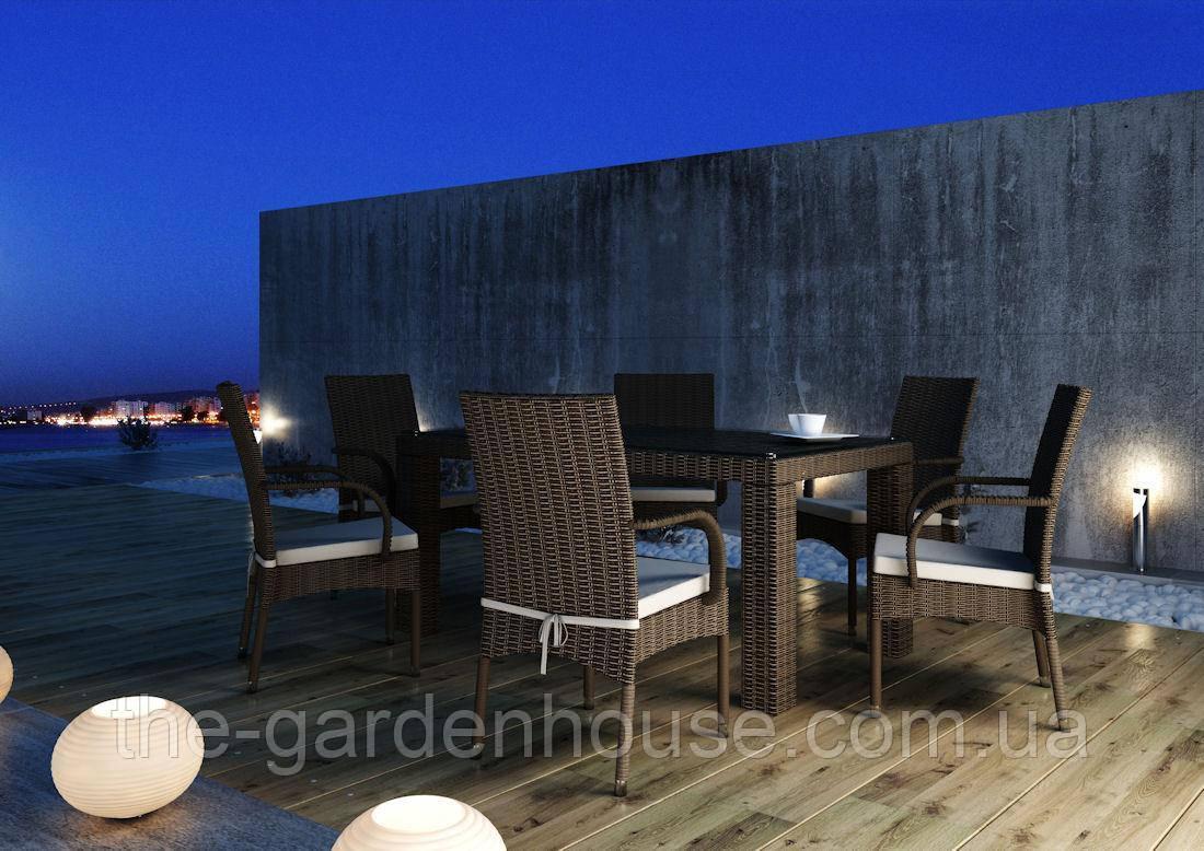 Столовый комплект садовой мебели Рапалло & Трамонто из искусственного ротанга коричневый