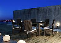 Столовий комплект садових меблів Рапалло & Трамонто з штучного ротанга коричневий, фото 1