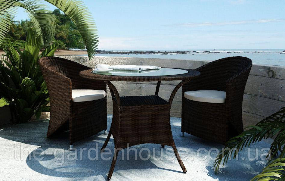 Двухместный комплект садовой мебели Dolce Vita Modern из искусственного ротанга коричневый