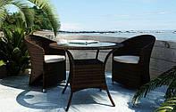 Двухместный комплект садовой мебели Dolce Vita Modern из искусственного ротанга коричневый, фото 1