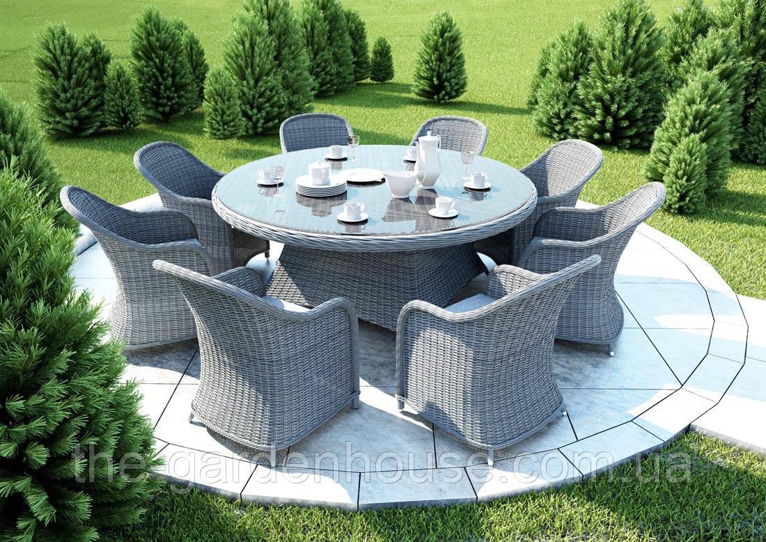 Столовый набор садовой мебели Rondo & Leonardo Royal из искусственного ротанга серый