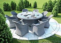 Столовый набор садовой мебели Rondo & Leonardo Royal из искусственного ротанга серый, фото 1