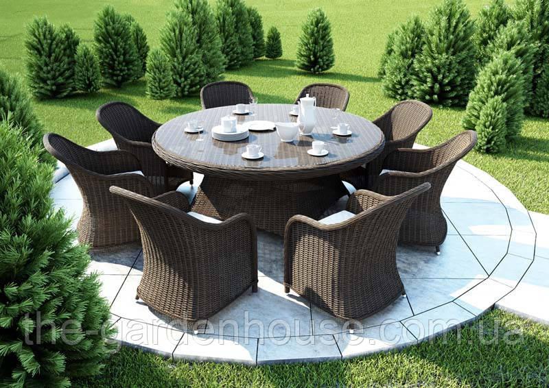 Столовый набор садовой мебели Rondo & Leonardo Royal из искусственного ротанга коричневый