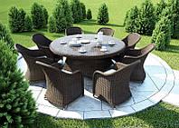 Столовый набор садовой мебели Rondo & Leonardo Royal из искусственного ротанга коричневый, фото 1