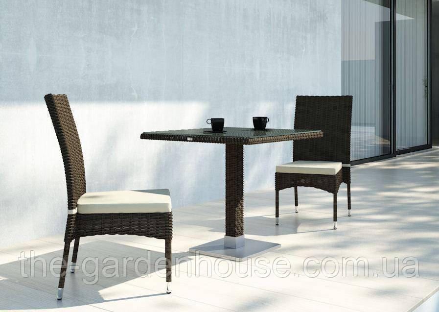 Двухместный набор садовой мебели Quadro & Strato из искусственного ротанга коричневый