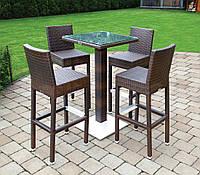 Комплект барный: стол Quadro 110 см и 4 стула Sondrio из искусственного ротанга коричневый, фото 1