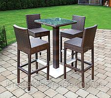 Комплект барный: стол Quadro 110 см и 4 стула Sondrio из искусственного ротанга коричневый