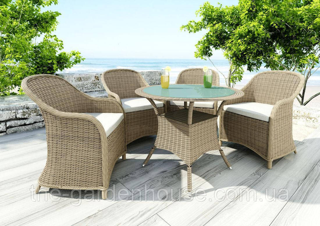 Столовый комплект садовой мебели Filip & Leonardo из искусственного ротанга бежевый