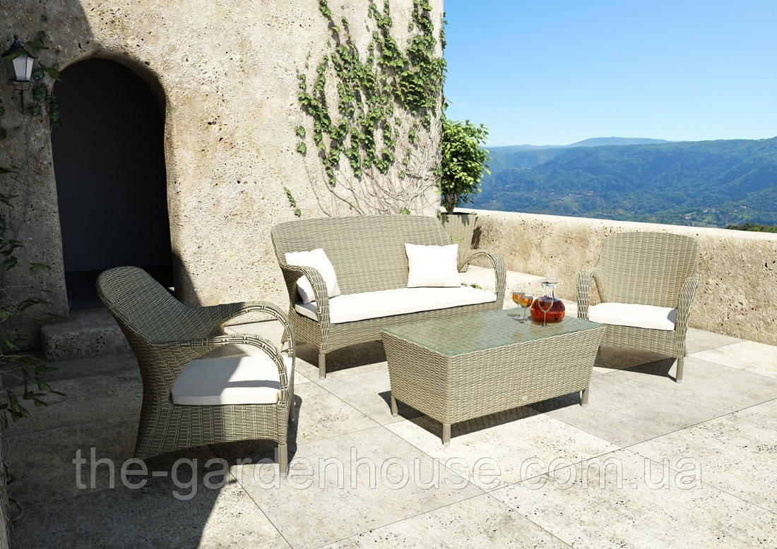 Набір садових меблів для відпочинку Firienze Royal з штучного ротанга бежевий