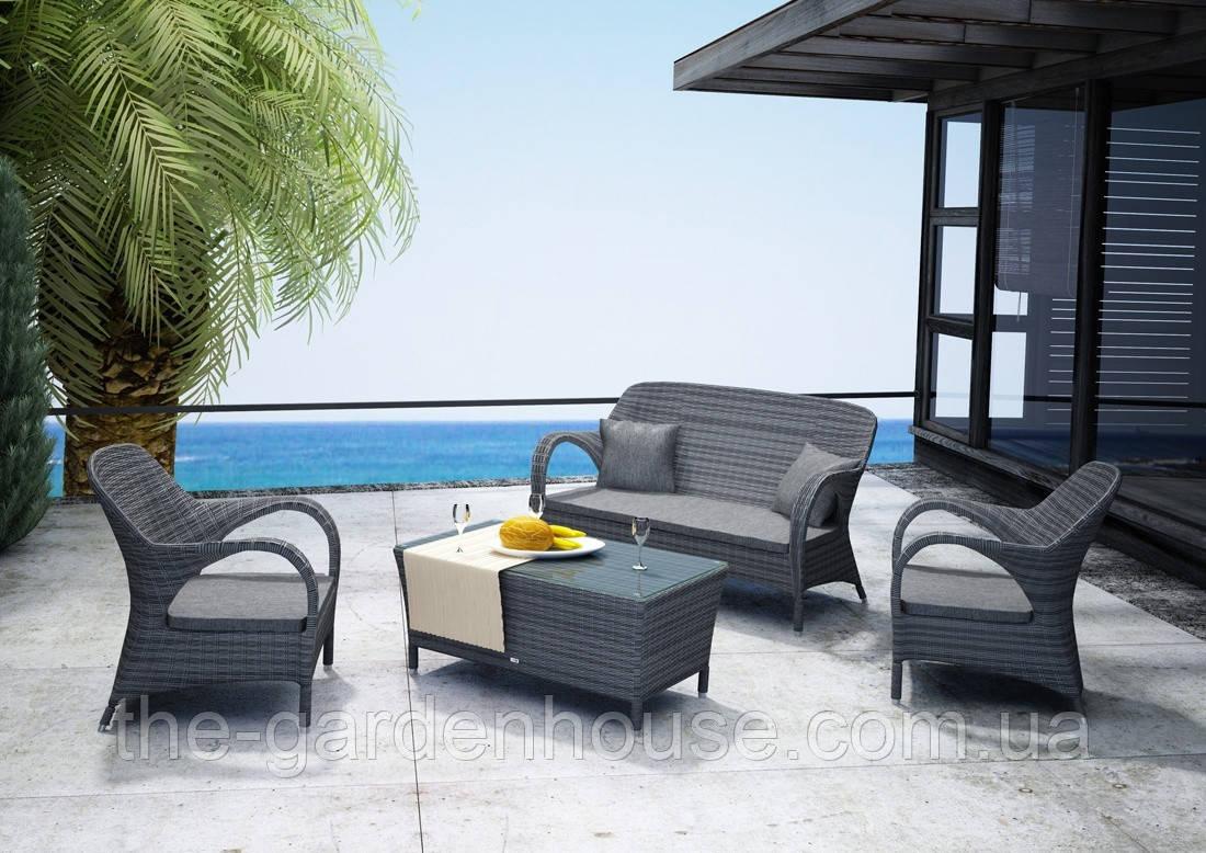 Набор садовой мебели для отдыха Firienze Royal из искусственного ротанга серый