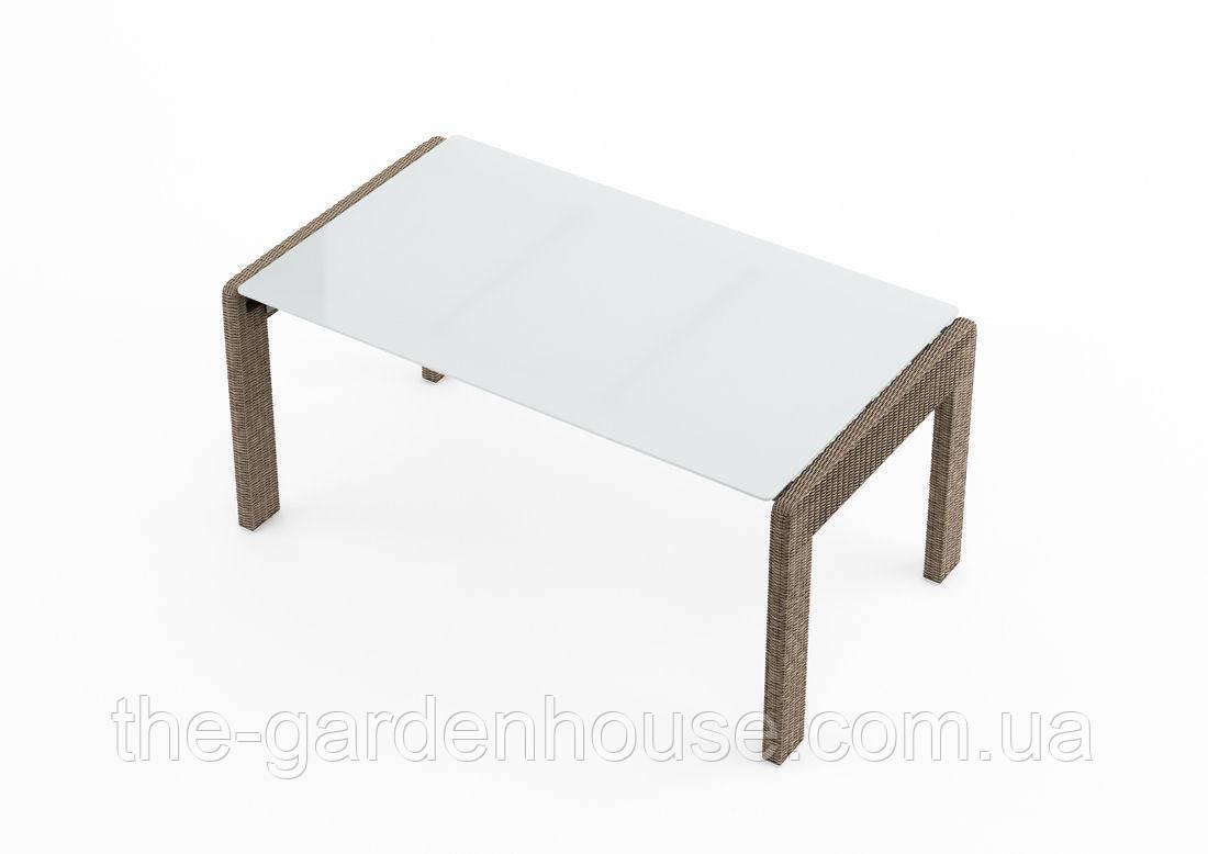 Обеденный садовый стол Prato Royal 160 см из искусственного ротанга бежевый