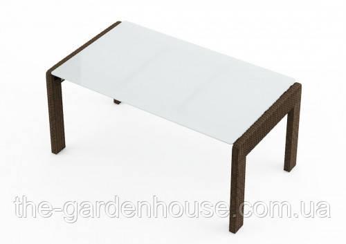 Обеденный садовый стол Prato Royal 160 см из искусственного ротанга коричневый