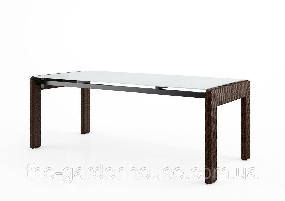 Обеденный садовый стол Prato Modern 200 см из искусственного ротанга коричневый