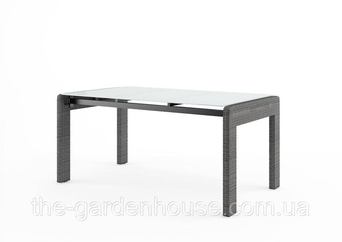 Обеденный садовый стол Prato Royal 160 см из искусственного ротанга серый