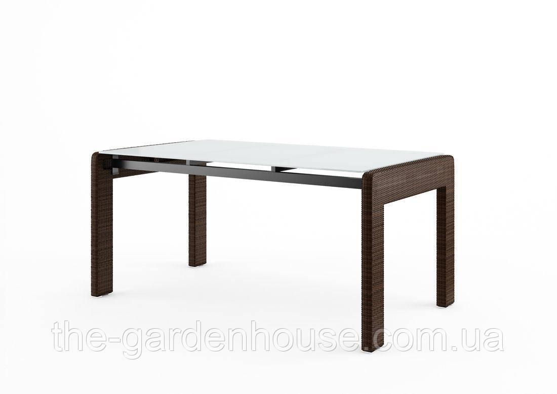 Обеденный садовый стол Prato Modern 160 см из искусственного ротанга коричневый