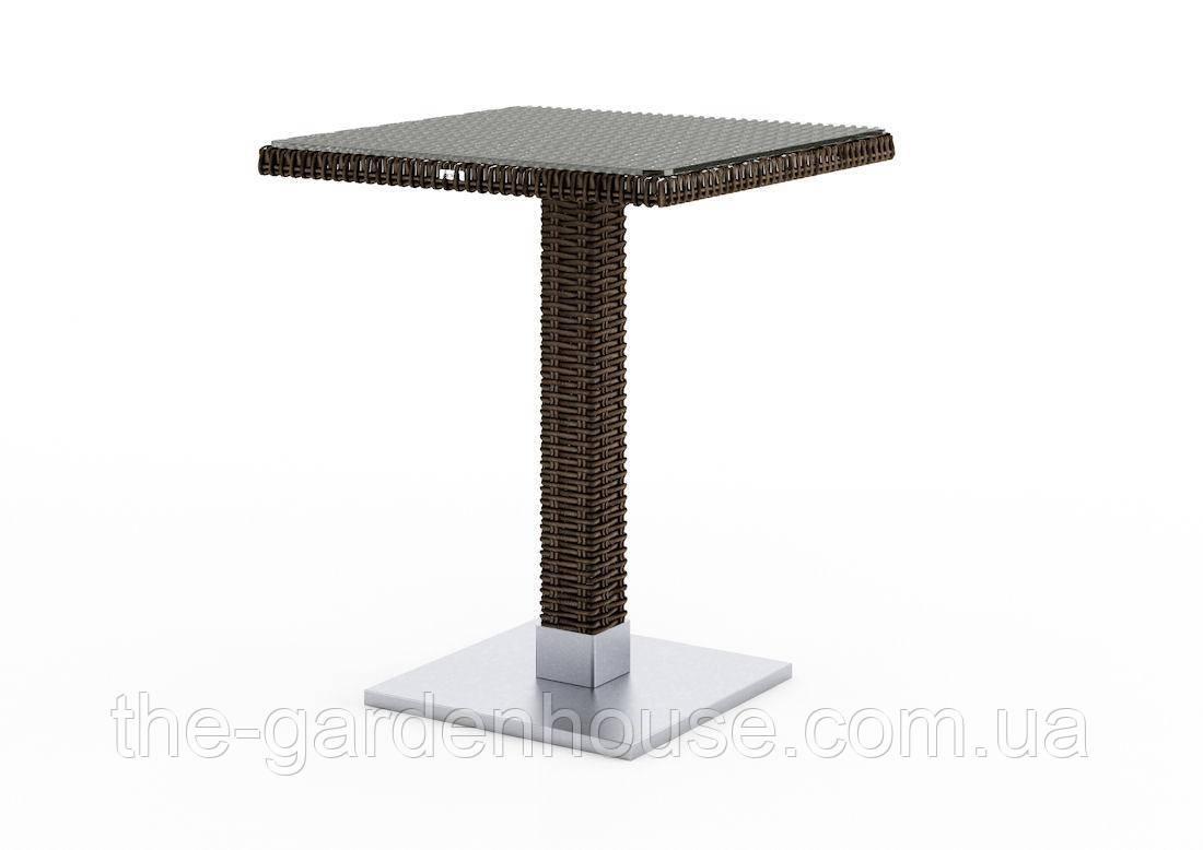 Кофейный столик Quadro Royal из искусственного ротанга со стеклом 60х60 см коричневый
