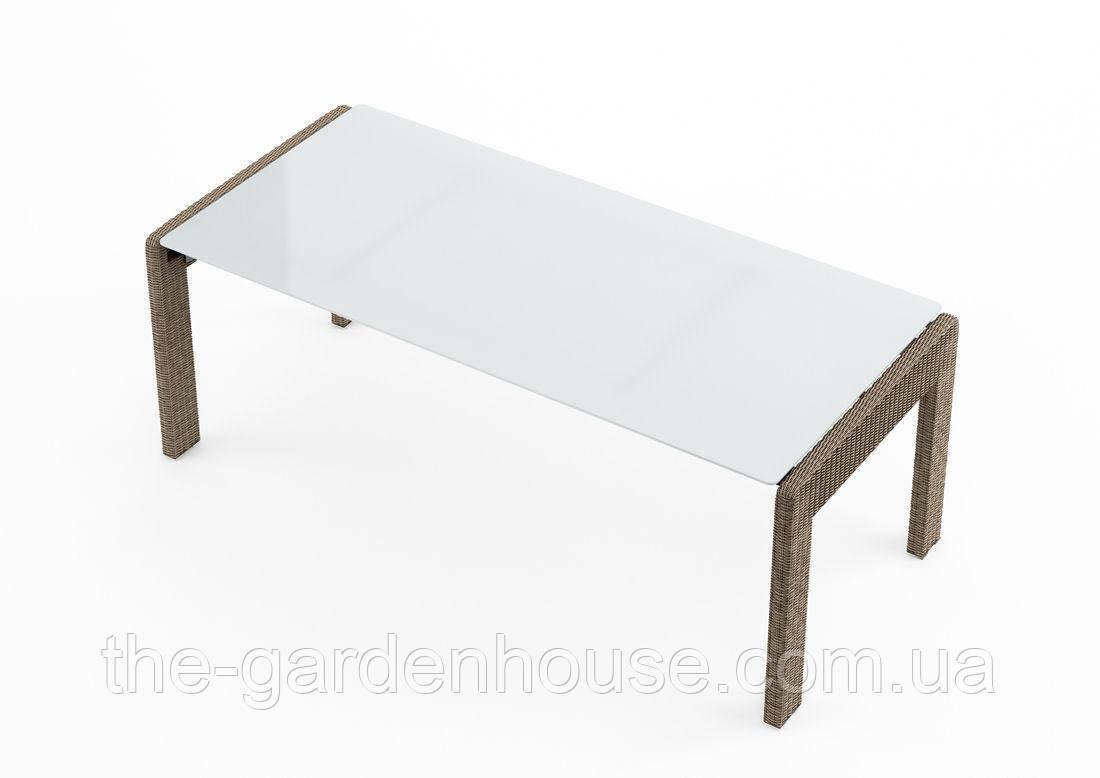 Обеденный садовый стол Prato Royal 200 см из искусственного ротанга бежевый