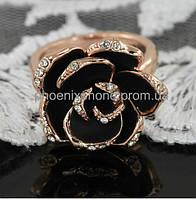 """Кольцо """"Черная роза"""" с кристаллами Swarovski, покрытое слоями золота (102291)"""