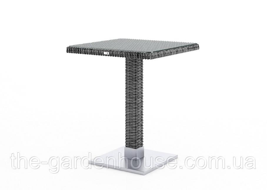 Кофейный столик Quadro Royal из искусственного ротанга со стеклом 60х60 см серый