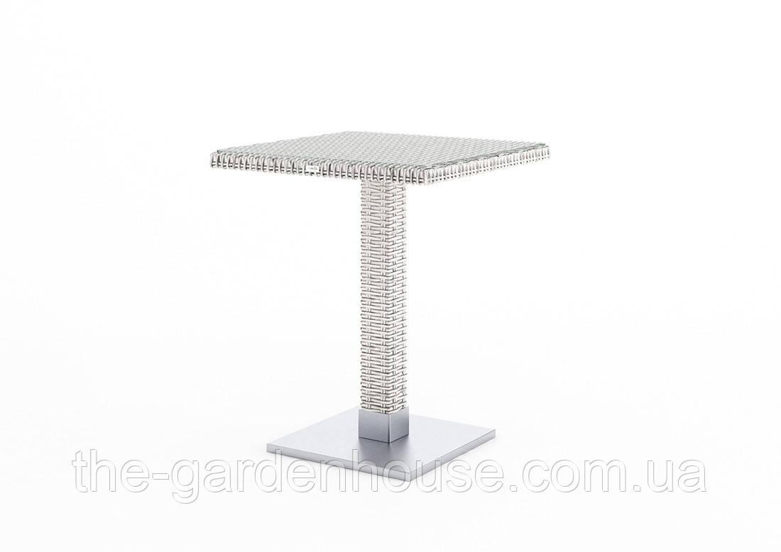 Кофейный столик Quadro Royal из искусственного ротанга со стеклом 60х60 см белый