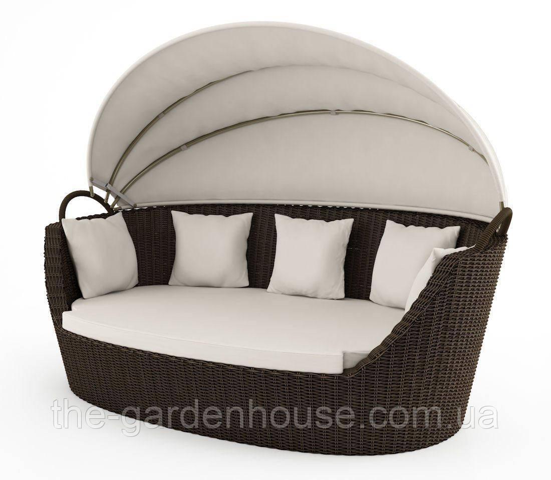 Садовый диван из искусственного ротанга Portofino Royal c навесом коричневый