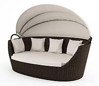 Садовый диван из искусственного ротанга Portofino Royal c навесом коричневый, фото 1