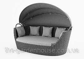 Садовый диван из искусственного ротанга Portofino Royal c навесом серый