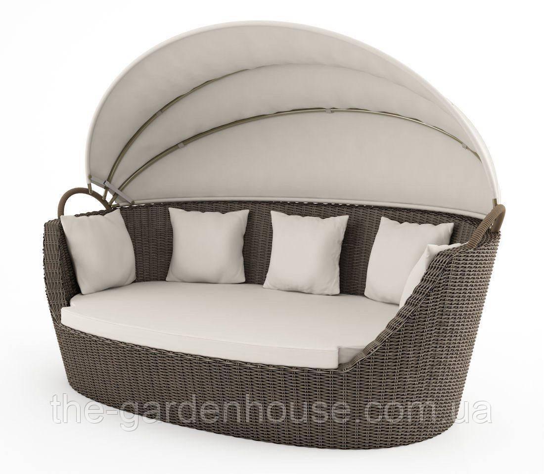 Садовый диван из искусственного ротанга Portofino Royal c навесом бежевый