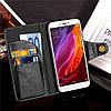 Чехол книжка для Xiaomi Redmi Note 4X боковой с отсеком для визиток, Ретро Premium Черный, фото 5