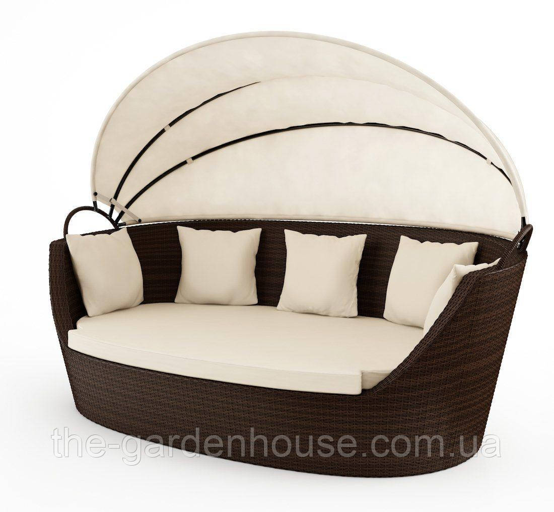 Садовый диван из искусственного ротанга Portofino Modern c навесом коричневый